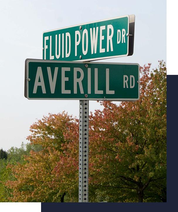 fluid power road sign